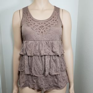 French Laundry Blouse Tank Large Ruffle Brown Tan